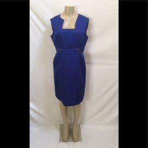 Tahari ASL Sz 12 Royal Blue Jacquard Sheath Dress